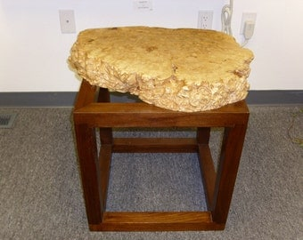 Post Modern Walnut and Maple Burl Table