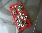 iPhone 4 4S Deep Red/Maroon/Burgundy Silver Triangle Studded Silicone Case/Cover