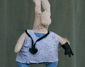 Bunny with a black leather glove (handmade doll)