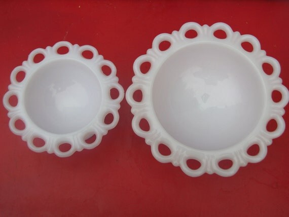 RESERVED FOR ELLIE - Lace Edge Milk Glass Pedestal Bowls Anchor Hocking Compotes 1960's