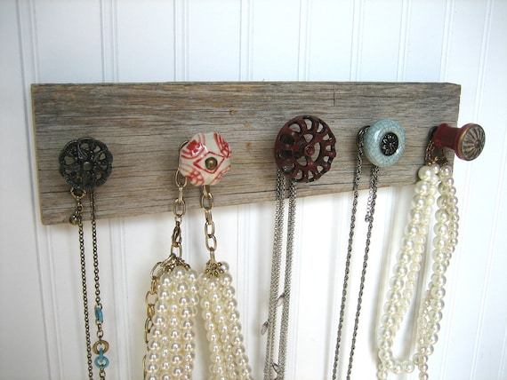 Wall Hanging Jewelry Holder on Barn Wood with Red and Blue