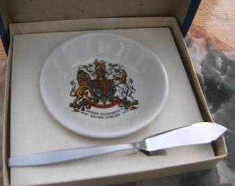 Vintage Queen Elizabeth 11 Silver Jubilee dish and Knife made by Maddock England SALE ITEM