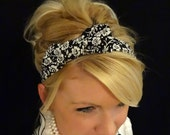 Black and white small floral bow stretch headband for adult/kid/infant