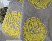Linen Tea Towel - Artichokes Linen Tea Towel - Yellow Tea Towel - 100% Natural Linen Tea Towel - Natural Color Tea Towel - 26 x 18 Dishcloth