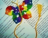 5  Handmade  Crochet   Multicolor or  Rainbow  Butterfly  Bookmark,Bookmarks,Books,Christmas