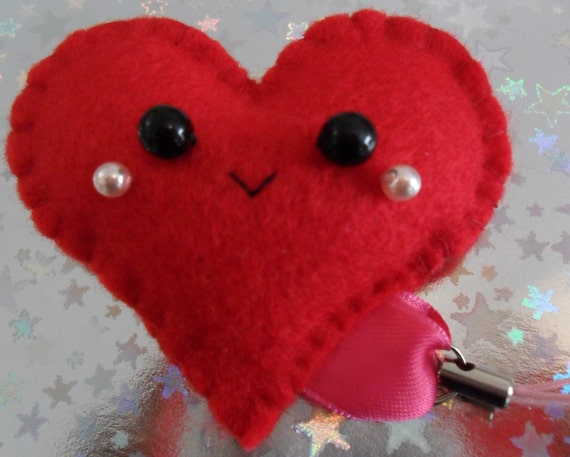 Happy Face Heart Plushie Friend Charm (Red Plush Key Ring Mobile)