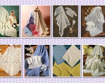 100 plus Vintage BABY PATTERNS - Shawls, Blankets and Pram Covers - Crochet & Knitting