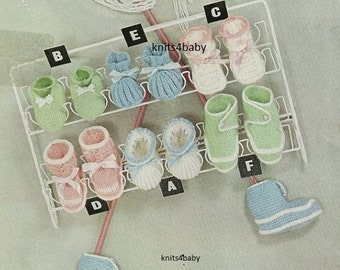 INSTANT DOWNLOAD 6 Pairs Vintage Baby Knitting Shoe/Bootie Pattern & FREE Patterns
