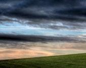 Unusual unique wall art - green grass hill, hillside sunrise, dramatic stormy blue sky, home decor - 12x10