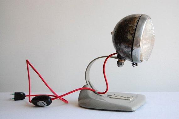 Bobber. Metal Motorcycle Headlight. Handcrafted vintage industrial desk lamp