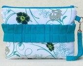 Turquoise Swirls and Flowers Wristlet, Zip Pouch