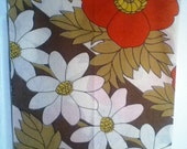 Vintage Floral Pillowcase in Brown, Red, White, and Yellow  Standard Size