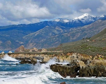 Cone Peak with Snow - Big Sur, California Photo Greeting Card