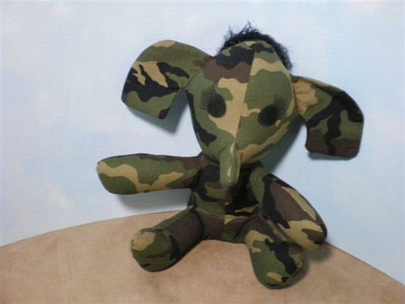 ON SALE - Green Camo Elephant with Sound