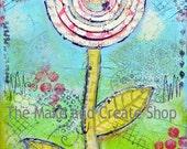 Mixed Media Flower Canvas