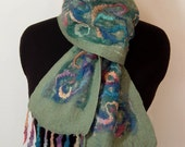 "SALE...Scarf, Nuno Felted, Festive, Multicolored, Richly Textured, ""Parade"""