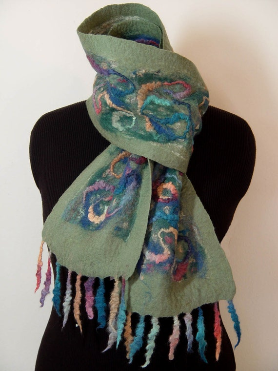 """SALE...Scarf, Nuno Felted, Festive, Multicolored, Richly Textured, """"Parade"""""""