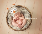 Newborn Baby Photo Prop Owl Hat and Baby Blanket Newborn Owl Hat Beige Blanket Beige Photography Prop Blanket Photo Prop Blanket and Hat Set