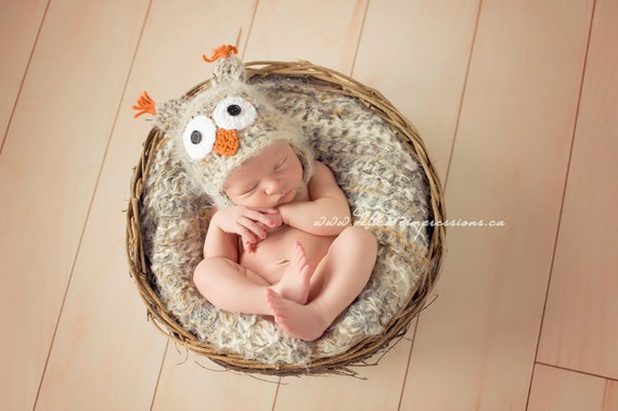 Newborn Baby Photo Prop Owl Hat and Baby Blanket Newborn Owl Hat Beige Blanket Beige Photography Prop Blanket Photo Prop Blanket and Hat Set