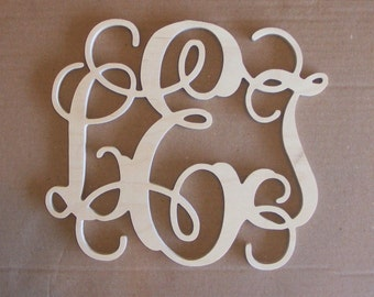 "18"" Inch Large 3 Wooden Vine Connected Monogram Letters, Unfinished,Unpainted"