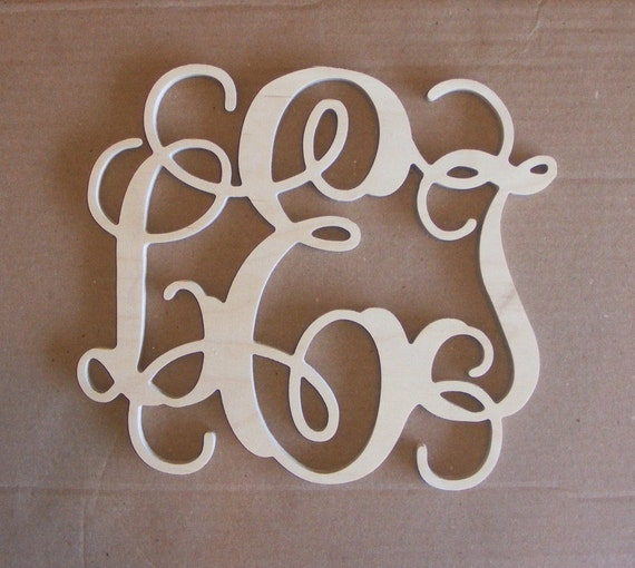 "30"" INCH Large 3 Wooden Monogram Letter, Unfinished,Unpainted, home ..."