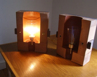 Lamps made from old 1950's mahogany foundry molds
