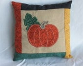 Mini Appliqued Pumpkin Pillow Accent