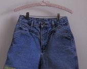 Upcycled Denim Shorts with Ribbon/ Lace Trim