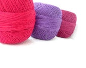 Linen Yarn for crochet and knitting, 2ply linen yarn, linen thread,  purple hot pink burgundy