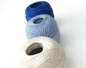 linen thread  for crochet and knitting, linen thread,  blue light blue cream white