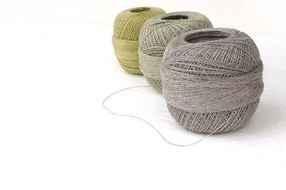 300gr of organic Linen yarn, linen thread, olive , natural linen