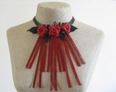 Red Leather Rose Necklace/Choker