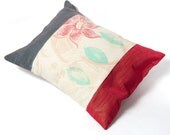 Cushion with Cherry, Navy, Lime and Hand Printed Retro Panels