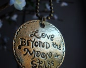 Lady Retro Vintage love words Pendant Necklace - Bronze