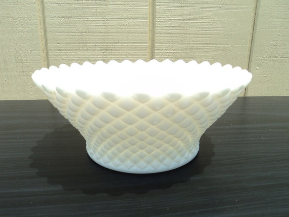 Vintage Milk Glass Bowl With  Wide Top