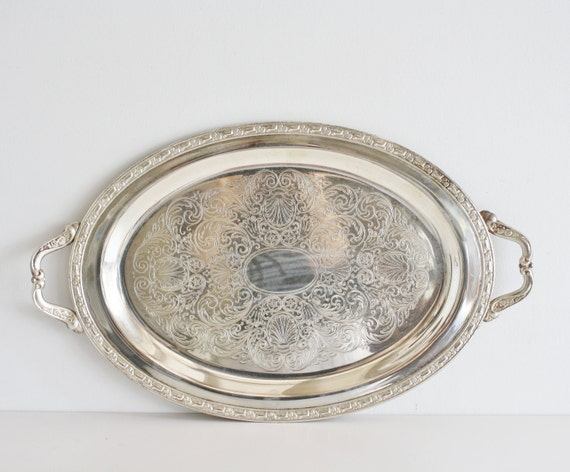 Vintage Large Silver Plated Serving Tray