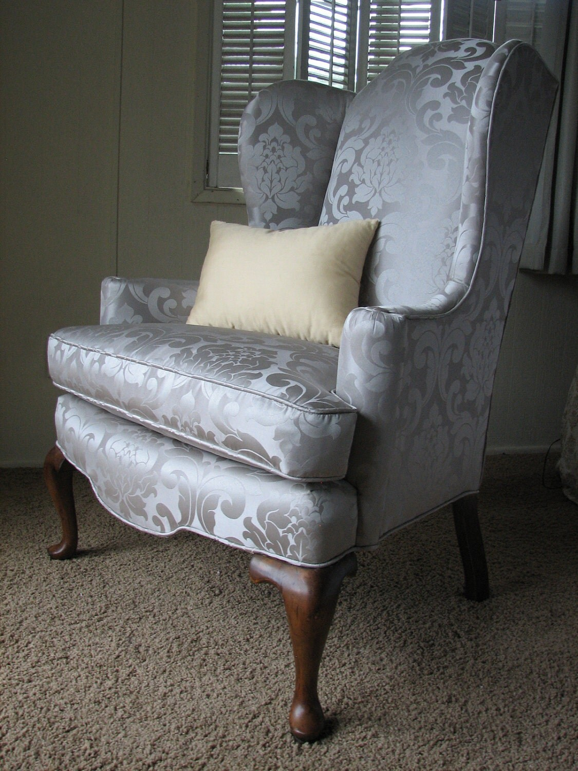Queen Anne Regal Wingback Chair in Grey by ReconstructedHome