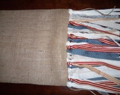 Burlap table runner, with patriotic american fringe, shabby chic, country french, Americana, Rustic, Home Decor