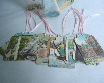 Vintage Wishing Tree Tags, Postcard Tags, Table Assignment Tags, Gift Tags, Cottage Chic Tags, Set of (12)