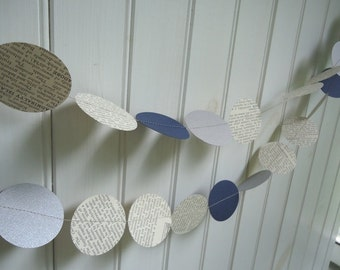 Paper Garland Blue and Silver Wedding Decor 10 Feet Long Winter Wedding Vintage Dictionary