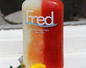 FRED bottled water bottle with 50/50 frozen organic MILK and frozen TOMATOJUICE split (Unique) and Print of Original
