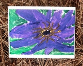 Purple Flower, Folded Note Card with Envelope - 100% Profits Donated