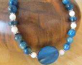 Blue Shell and Sterling Necklace