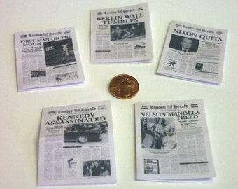 2015# Newspapers London Herald 5 Pc - doll house miniature in scale 1/12