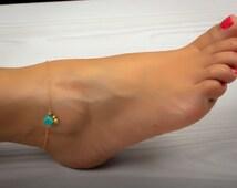 Gold anklet / Turquoise anklet / Ankle bracelet / Gold ankle bracelet / Foot jewelry/ Bridesmaid gift/ Charm anklet/ Dainty anklet|Okeanides