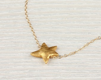 Starfish necklace / Star necklace gold / Brushed Gold necklace / Tiny Star necklace / Gold Necklace/ Everyday Jewelry / Star Jewelry |Astris