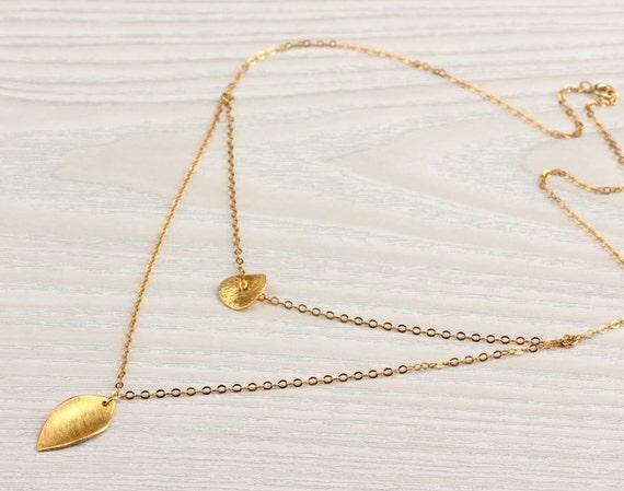 "Layering necklace, gold leaf necklace, bridal necklace, circle necklace, vermeil, wave pendant, ""Ariadne"" Necklace"