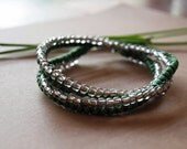 Double-Wrap Beaded Bracelet in Leaf Green