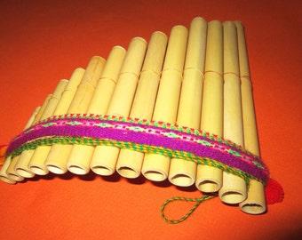 Small pan flute antara 13 pipes handmade with bamboo