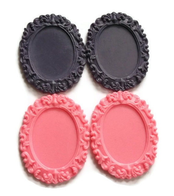 Purple and Pink Resin Cameo Settings, 4 pieces For 30x40mm Cabochon
